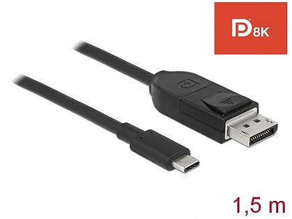 Kabel Delock USB-C > DisplayPort (1.4) 8K 60Hz czarny 1,5m